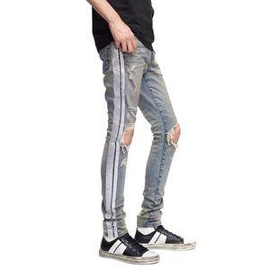 Yeni Lluxury Erkek Tasarımcı Ince Bacak Kot Gümüş Şerit Kot Pantolon Moda Kulübü Giyim Erkek Hip Hop Skinny Jeans için En Kaliteli ABD AB W28-W38