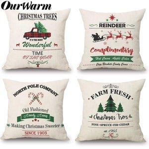 OurWarm Natal Throw Pillow Covers 18x18 polegadas queda Caso Almofada Decoração do feriado de inverno rústico Farmhouse para o sofá fronha Couch