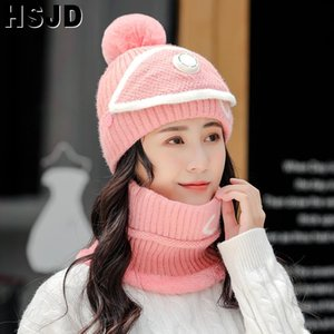 Women's Knitted Beanie Hat Scarf 3 Pieces Sets Neck Warmer Winter Hat For Women Thick Warm Skullies Beanies Bonnet Female Caps
