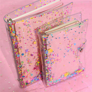 Colorful Spiral Rings Transparent PVC Sequins Binder Loose-leaf Shell Kids Learning Planner Notebooks Cover Office School Supp EWB1572