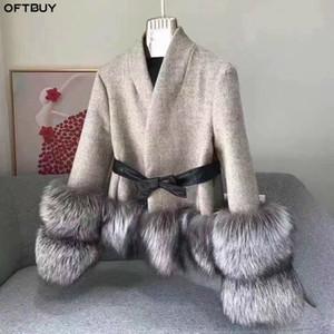 OFTBUY Зимняя куртка женщин реального пальто шерсти 100% натуральный Silver Fox Fur манжета толстый теплый кашемир шерстяные смеси Outwear Streetwear Новые