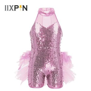 Latin Dress Shiny jazz Costume Jumpsuit Sequins Jazz Latin Ballet Dance Costume Leotards for Girls Sleeveless Mock Neck Leotards