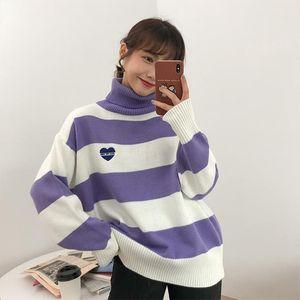 Women Striped Cartoon Love Badge Turtleneck Sweater Female Vintage Harajuku Ulzzang Knitted Womens Sweaters Lady Cute Kawaii