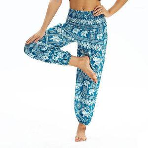 Avrupa dijital baskı yoga pantolon gevşek kiriş ayak spor büyük boy kadın dans pantolon thai tarzı gevşek fener yoga1