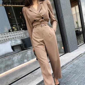 Şık 2 adet Seti Tam Kol Kısa Blzer Uzun Kuşaklı Pantolon Şık Kadınlar Pantolon Suit 2020 Büro Bayanlar Blazer Suit Bgteever