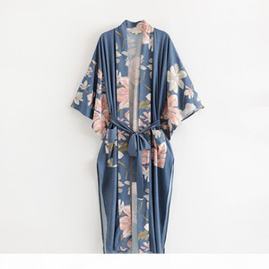 Maxi Robe Kimono Blouses Women Summer Chic Floral Printed Vintage Bohemian Long Jacket Cardigan New Beach Boho Shirt Loose Clothes Cover Ups