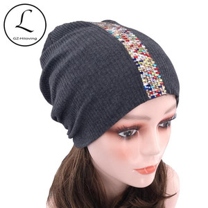 Women Ribbed Rhinestone Beanie Hats For Ladies 2020 New Slouchy Cotton Knitted Beanie Skullies Cap Warm Bonnet Christmas Gifts
