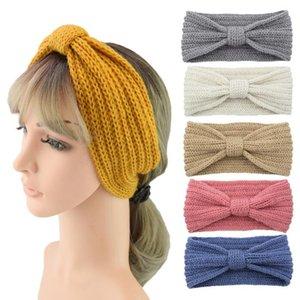 Maglia della fascia dell'orecchio Donne Warmer Knot Hairband inverno della signora Crochet ampio tratto headwrap Accessori per capelli Turbanti favore di partito AHB2645