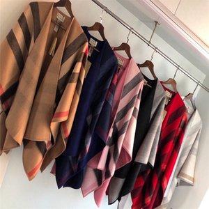 Новая мода осень зима кардигана Женщины Толстый Теплый плед пончо и Wrap Plus Размер Вязаная пашмины кашемира свитера Cape # 0039