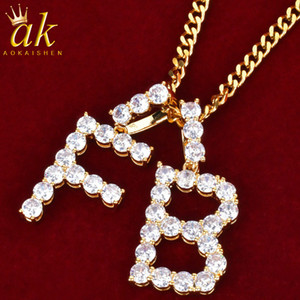 Initial Letters Jewelry Tennis Letter Gold Color Cubic Zircon Copper A-Z Street Jewelry Necklace With Cuban Chain