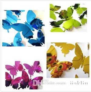 New colorful 12pcs set PVC DIY Wall Sticker stereoscopic 3D Mirror Butterfly Sticker for Wall Window Wallpaper Party Supplies T2I5563
