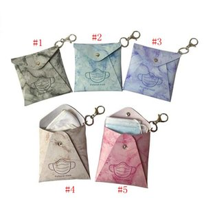 Face Mask Bags Masks Case Mask Holder PU Marbling Square Blue Red Leather Clasp Business Outdoors Antifouling HHA3464