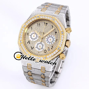 NUOVO FULL ICED OUT VS Moissanite Diamond Pavy Due Tone Giallo Giallo Arabo Numeri arabi Marcatori Dial VK Quartz Chronograph Mens Watch Sport Watche