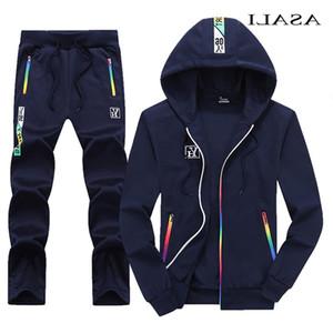 Asali Hooded Tracksuit Men Uomo Autunno Casual Mens Outwear Zipper Giacca + Pantaloni 2 pezzi Set Sportswear da uomo Jogging Homme 4XL