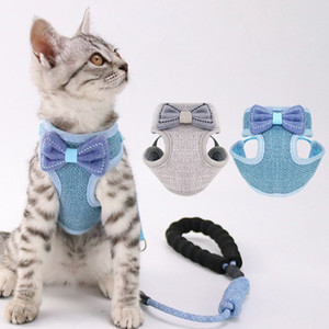 Cat Harness and Leash Lead Rope Adjustable Breathable Mesh Vest Harnesses with Cute Bowknot Design for Cats and Small-sized Dogs Q1224
