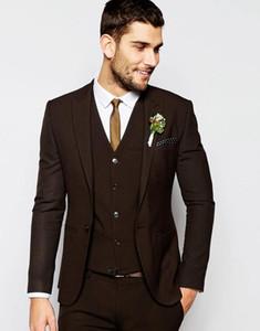 Center Vent Groomsmen Shawl Lapel Groom Tuxedos Dark Brown Men Suits Wedding Best Man Blazer (Jacket+Pants+Vest+Tie) C55