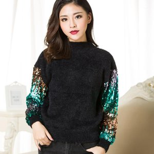 2019 Winter Runway Designer Women Mohair loose Sweaters pullovers Luxury sequins Christmas knitted jumper Harajuku Tops Clothes1