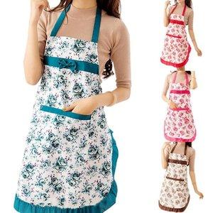 Hot Women Floral Bowknot Waterproof Kitchen Restaurant Cooking Pocket Dress Apron
