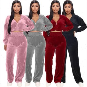 Autumn Winter Velvet Womens Set Zipper Hoodies Tops Straight Pants Set Tracksuit Two Piece Outfit Active Sweatsuit
