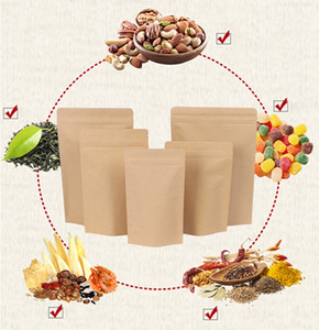 11 sizes Brown Kraft Paper Stand-Up Bags Heat Sealable Resealable Zip Pouch Inner Foil Food Storage Packaging Bag With Tear Notch Z341