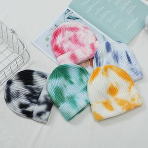 Fashion Tie-dye Hat Women Warm Autumn Winter Knitted Street Hip Hop Melon Cap Unisex Gradient Beanie Woolen Hats DHA2210