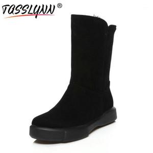 TASSLYNN 2020 Femmes chaudes Bottes de neige Talons carrées Teaux rondes Chaussures femmes Bottes à mi-veau rond Toile d'hiver Taille 34-431