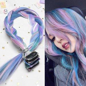 100 couleurs Clip-races d'arc-en-ciel dans une pièce de cheveux Extensions de cheveux Synthetic Long Long ombre Rose Rose Rainbow Cheveux