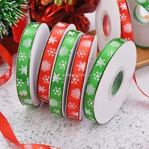 Red Green 1cm Christmas ribbon print snowflake Ribbons Wrap Gift Box Wrapping Christmas Festivel home Decorations will and sandy drop ship