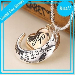 2019 High Quality Heart I Love You To The Moon And Back Mom Pendant Necklace Mother Day Gift Wholesale Fashion Jewelry ZJ-0903221