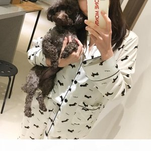 Pajama Sets Women Dachshund cartoon Print 3 Pieces Long Sleeve Top + Pants Elastic Waist + Blinder Loose Home wear