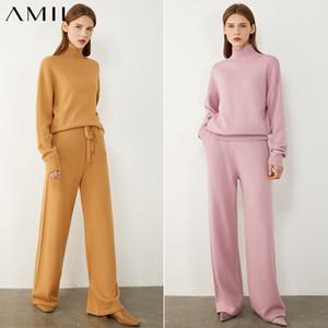 AMII Minimalism Herbst-Winter-Frauen Set Fashion Solid Rollkragenpullover elastische Taillen-lose Frau Hosen 12040358 200930