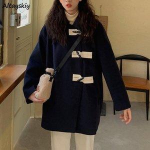 Wool Women Horn Button School Elegante All-Match Chic Casual Harajuku Abrigo Simple Estilo coreano Patchwork Autumn Wide-cintura 2021
