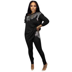Mode für Frauen Zweiteiler Hose beiläufige mit Pailletten Designer Zweiteilige Sets Sports Crew Neck Damenmode