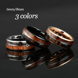 6 8m Carbide Rings for Men Women Wedding Bands Nature Koa Wood Arrow Inlay Free Engraving Comfort Fit