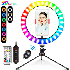 10 inch LED Colorful Dimmable Ring Light Lamp with Tripod Stand USB Selfie Light Ring RGB Ringlight TikTok Vlogging Photo Phone Video Light