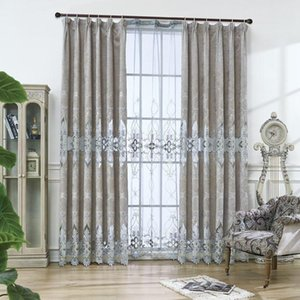New European-style Luxury Water-soluble Embroidered High-end Gray Chenille Curtains for Living Dining Room Bedroom.