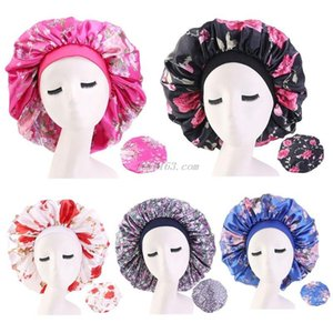 Women Extra Large Satin Bonnet Sleep Night Cap Elastic Wide Band Ethnic Floral Print Jumbo Salon Chemo Cap Long Braids Head Hair