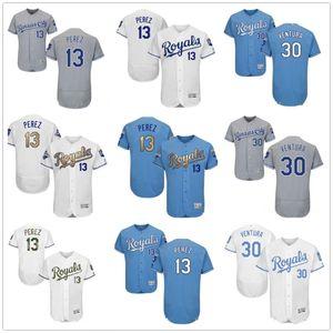 Пользовательские мужчины женщины молодежи KC Royals Jersey # 30 Йордано Вентура 13 Сальвадор Перес Главная синий белый серый бейсбол