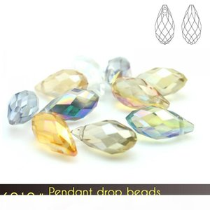 Jewelry Making Supplies 5x7mm Glass Beads Briolette Pendant Plated color 100pcs set A6010 wholesale Bulk Beads