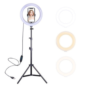 Dimmable LED Selfie Ring Light with Tripod Stand Photography Ringlight Phone Studio Desktop for Hot Red Live Stream
