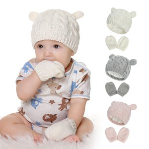 New Baby Hat and Mittens Set Kids Knitted Cotton Beanie Cap Winter Warm Boys Girls Double Pompom Hats Gloves set