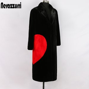 Nerazzurri winter black long faux fur coat with red love hearts long sleeve notched lapel plus size warm fluffy jacket 5xl 6xl C1011