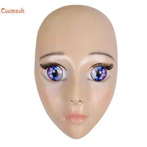 COSMASK Femelle Blue-Yeet Masque Latex Réaliste Human Skin Masques Halloween Dance Masquerade Beau sexe révéler les femmes