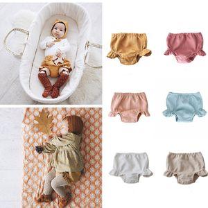 BRG Toptan Ins Kore Avustralya Tarzı Çocuk Kız Şort Büyük Kalite Organik Keten Pamuk Ruffles Desginer Çocuk Pantolon 0-3 T