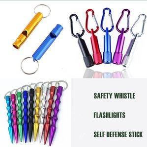 뜨거운 판매 2021 휴대용 자기 방어 스틱 LED 손전등 긴급 생존 안전 휘파람 키 체인 자기 방어 펜던트 선물 도매