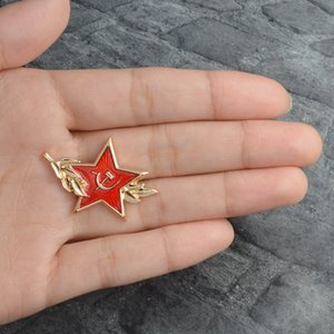 New Ussr Symbol Cold War Soviet Cccp Red Star Sickle Hammer Brooch Icon Badge Button Lapel Coat Cap