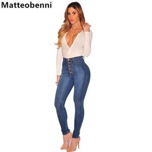 Кнопки моды джинсы женщин карандаш брюки с высокой талией джинсы сексуальные тонкие эластичные тощие джинсовые брюки брюки брюки подходят мамой плюс размер