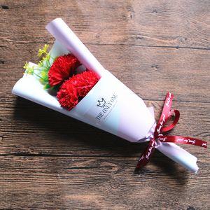 3 Head Soap Rose Flower Bouquet Valentine Day Gift Rose Carnation Mothers Teacher Day Flower Present YYS3205