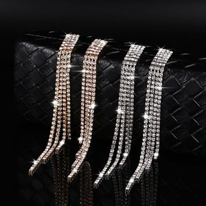 New Silver Color Rhinestone Crystal Long Tassel Earrings for Women Bridal Drop Earrings Wedding Jewelry