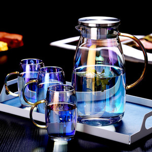 1.8L Colorful Glass Water Pot Heat-resistant Explosion-proof Large-capacity Glass kettle Teacup Drinkware Teapot Fruit Juice Jug